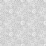 Vector da estrela sem emenda do fundo 040 do teste padrão da arte do papel 3D do damasco a flor transversal Fotos de Stock