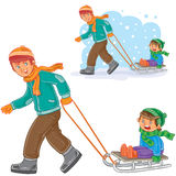 Vector dad, older brother dragging sled with little boy Stock Image