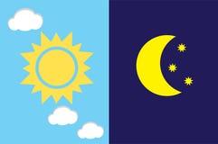 Vector dag en nacht Royalty-vrije Stock Afbeeldingen