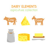 Vector dairy illustrations. Cow and goat cartoon illustration. Milk and cheese icons design. Flat argiculture collection stock illustration