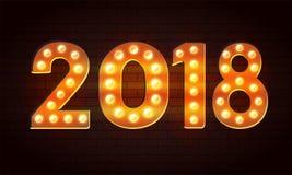Vector 2018 dal fondo del buon anno della lampadina con effetto della luce sulla parete Immagine Stock Libera da Diritti