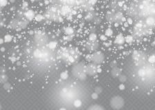 Vector dalend geïsoleerd sneeuweffect op transparante achtergrond met vaag bokeh stock illustratie