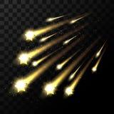Vector dalende sterren op transparante achtergrond Het ruimtester lichte schieten in dark Stock Foto