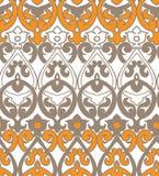 Vector damask pattern stylish seamless colorful yellow royalty free illustration