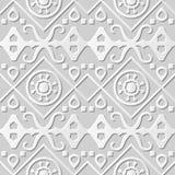 Vector damask seamless 3D paper art pattern background 007 Aboriginal Round Cross Geometry Royalty Free Stock Image