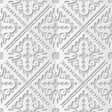 Vector damask seamless 3D paper art pattern background 096 Cross Dot Kaleidoscope. Antique paper art retro abstract seamless pattern background Stock Image