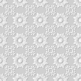 Vector damask seamless 3D paper art pattern background 207 Cross Round. Antique paper art retro abstract seamless pattern background Stock Photo