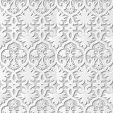 Vector damask seamless 3D paper art pattern background 153 Cross Spiral Flower. Antique paper art retro abstract seamless pattern background Royalty Free Stock Photos