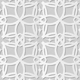 Vector damask seamless 3D paper art pattern background 106 Curve Cross Geometry. Antique paper art retro abstract seamless pattern background stock illustration