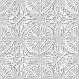 Vector damask seamless 3D paper art pattern background 231 Curve Cross Kaleidoscope Stock Image