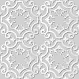Vector damask seamless 3D paper art pattern background 006 Curve Spiral Cross. Antique paper art retro abstract seamless pattern background Royalty Free Stock Image