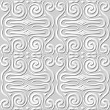 Vector damask seamless 3D paper art pattern background 047 Curve Spiral Geometry. Antique paper art retro abstract seamless pattern background Royalty Free Stock Images