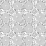 Vector damask seamless 3D paper art pattern background 147 Fan Round Flower. Antique paper art retro abstract seamless pattern background Stock Images
