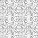 Vector damask seamless 3D paper art pattern background 206 Flower Vine Spiral. Antique paper art retro abstract seamless pattern background Vector Illustration