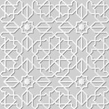 Vector damask seamless 3D paper art pattern background 126 Islam Star Cross Geometry Stock Photo