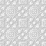 Vector damask seamless 3D paper art pattern background 242 Kaleidoscope Geometry. Antique paper art retro abstract seamless pattern background Royalty Free Stock Photos