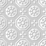Vector damask seamless 3D paper art pattern background 064 Octagon Cross Dot Line. Antique paper art retro abstract seamless pattern background Royalty Free Stock Photos