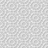 Vector damask seamless 3D paper art pattern background 195 Octagon Cross Flower. Antique paper art retro abstract seamless pattern background royalty free illustration