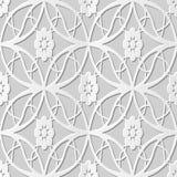 Vector damask seamless 3D paper art pattern background 205 Oval Cross Flower. Antique paper art retro abstract seamless pattern background Stock Image