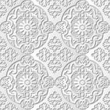Vector damask seamless 3D paper art pattern background 100 Oval Kaleidoscope Flower Stock Photos