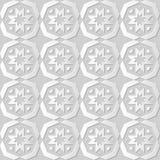 Vector damask seamless 3D paper art pattern background 123 Polygo Cross Flower Royalty Free Stock Photos