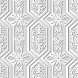Vector damask seamless 3D paper art pattern background 202 Polygon Cross Kaleidoscope. Antique paper art retro abstract seamless pattern background royalty free illustration