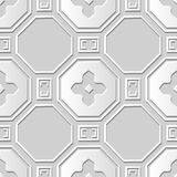 Vector damask seamless 3D paper art pattern background 372 Polygon Flower Cross Stock Images