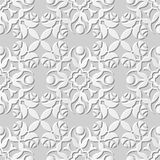 Vector damask seamless 3D paper art pattern background 070 Rose Round Flower Royalty Free Stock Images