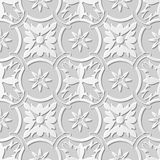 Vector damask seamless 3D paper art pattern background 105 Round Cross Chain Flower. Antique paper art retro abstract seamless pattern background vector illustration
