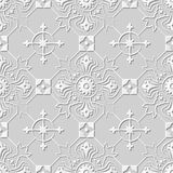 Vector damask seamless 3D paper art pattern background 110 Round Cross Flower. Antique paper art retro abstract seamless pattern background Royalty Free Stock Image