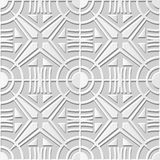 Vector damask seamless 3D paper art pattern background 359 Round Cross Geometry Royalty Free Stock Photography