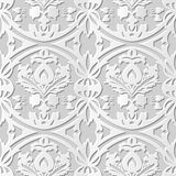 Vector damask seamless 3D paper art pattern background 183 Round Cross Leaf. Antique paper art retro abstract seamless pattern background vector illustration