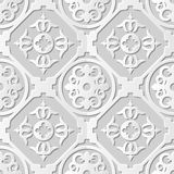 Vector damask seamless 3D paper art pattern background 088 Round Cross Spiral Stock Photos
