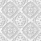 Vector damask seamless 3D paper art pattern background 088 Round Cross Spiral Stock Photos