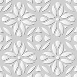 Vector damask seamless 3D paper art pattern background 189 Round Flower Curve Royalty Free Stock Images