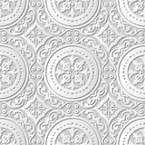 Vector damask seamless 3D paper art pattern background 197 Round Spiral Flower. Antique paper art retro abstract seamless pattern background royalty free illustration