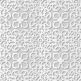 Vector damask seamless 3D paper art pattern background 158 Round Spiral Kaleidoscope Royalty Free Stock Photography