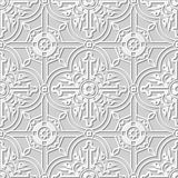 Vector damask seamless 3D paper art pattern background 101 Round Square Cross Flower Royalty Free Stock Photography