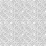 Vector damask seamless 3D paper art pattern background 113 Round Square Cross Line. Antique paper art retro abstract seamless pattern background Stock Photography
