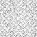Vector damask seamless 3D paper art pattern background 081 Spiral Cross Flower Royalty Free Stock Photo