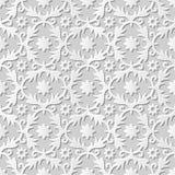 Vector damask seamless 3D paper art pattern background 081 Spiral Cross Flower Royalty Free Stock Photo