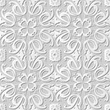 Vector damask seamless 3D paper art pattern background 249 Spiral Cross Flower Royalty Free Stock Images