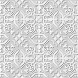 Vector damask seamless 3D paper art pattern background 055 Spiral Cross Kaleidoscope Royalty Free Stock Photos