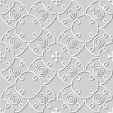 Vector damask seamless 3D paper art pattern background 270 Spiral Cross Vine Stock Photos