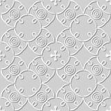 Vector damask seamless 3D paper art pattern background 270 Spiral Cross Vine Stock Photos