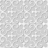 Vector damask seamless 3D paper art pattern background 304 Spiral Curve Cross Stock Image