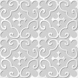 Vector damask seamless 3D paper art pattern background 304 Spiral Curve Cross Stock Image