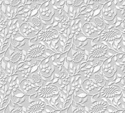 Vector damask seamless 3D paper art pattern background 376 spiral leaf sun flower Royalty Free Stock Photo