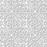Vector damask seamless 3D paper art pattern background 080 Spiral Plant Cross Stock Photos