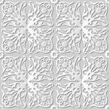 Vector damask seamless 3D paper art pattern background 239 Spiral Vine Flower Royalty Free Stock Image